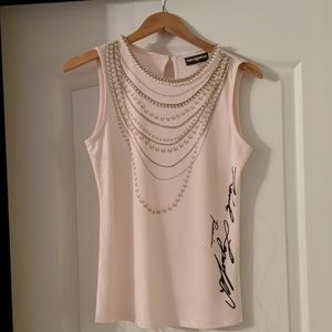 Pearl Light Pink Sleeveless Blouse